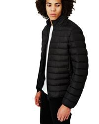 The Idle Man - Polyester Padded Puffer Jacket Black for Men - Lyst