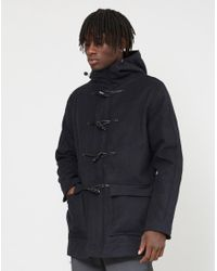 The Idle Man - Blue Wool Duffle With Detachable Fur Hood Navy for Men - Lyst