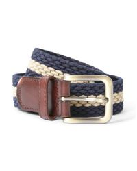 The Idle Man - Elastic Weave Belt Blue & Stone for Men - Lyst
