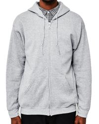 The Idle Man - Gray Classic Zip Through Hoodie Grey for Men - Lyst