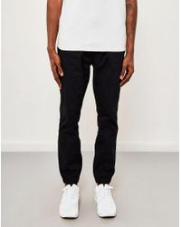 The Idle Man - Cotton Elasticated Cuff Trouser Black for Men - Lyst