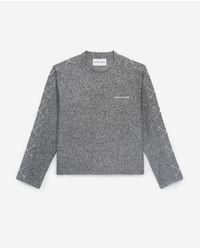 The Kooples Gray Rockiges T-Shirt in Grau mit langen Ärmeln
