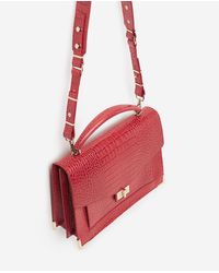 The Kooples Red Emily Croc - Embossed Leather Maxi Crossbody