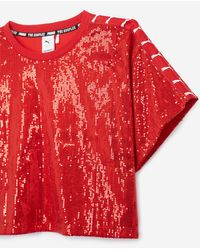 The Kooples Floaty Red Top With All-over Sequins