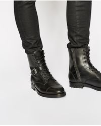 The Kooples Black Smooth Leather Lace-up Ankle Boots for men