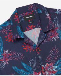 The Kooples Langes Herrenhemd mit Blumen-Print in Blue für Herren