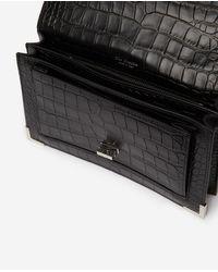 Medium print crocodile Emily bag in black The Kooples