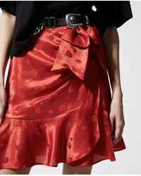 The Kooples Red Jacquard Short Skirt With Frills