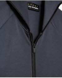 The Kooples Blue Zipped Hoodie With Nylon Piping Details