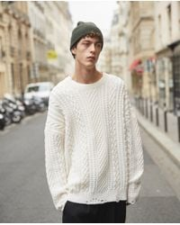 The Kooples Natural Ecru Cashmere And Wool Cable Knit Jumper for men