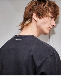 The Kooples Printed Washed Black Cotton T-shirt for men