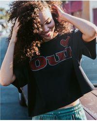 The Kooples Black Cotton T-shirt With Rhinestones