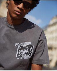The Kooples Graues oversize-t-shirt mit paris new york siebdruck in Gray für Herren