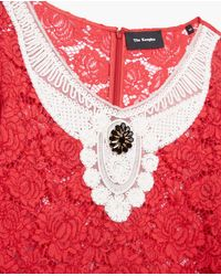 The Kooples Pink Red Lace Top With Jewelled Dickey