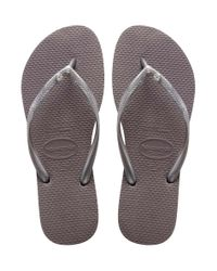 Havaianas - Gray Flipflops Slim Crystal Glamour Swarovski - Lyst