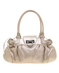 9c1ac844b6d Lyst - Ferragamo Leather Marisa Shoulder Bag in Metallic