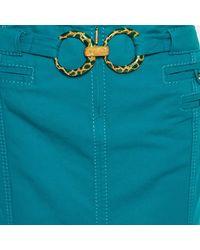 Roberto Cavalli Green Cotton Double Ring Detail Maxi Skirt