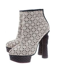 Charlotte Olympia Brown Cream Damsel In Distress Crocheted Ankle Boots