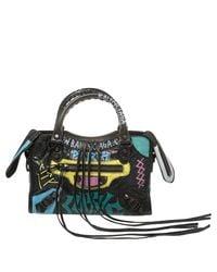 Balenciaga Black Graffiti Leather Mini Rh Classic City Bag