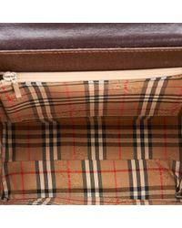 Burberry Brown Dark Leather Top Handle Bag