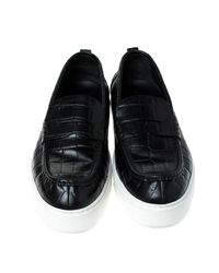 Louis Vuitton Black Croc Embossed Leather Slip On Sneakers Size 45 for men