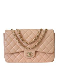 Chanel Peachy Pink Quilted Leather Jumbo Single Flap