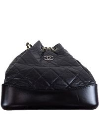 Chanel Black Quilted Leather Cc Chain Drawstring Backpack
