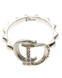 Dior Metallic Logo Crystal Enamel Silver Tone Ring Size 53