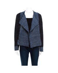 Derek Lam 10 Crosby Navy Blue And Black Textured Raw Trim Detail Open Front Jacket
