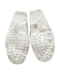 Tod's - White Textured Leather Penny Loafers for Men - Lyst