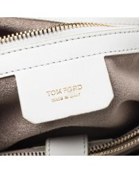 Tom Ford Tom White Leather Large Tf Icon Satchel