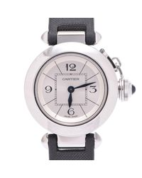 Cartier White Stainless Steel And Satin Miss Pasha Women's Wristwatch 26mm