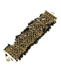 CH by Carolina Herrera - Black Beads Gold Tone Wide Bracelet 15cm - Lyst