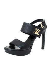 Louis Vuitton Black Leather Horizon Sandals Size 38.5