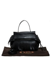 Tod's Black Fringed Leather Medium Wave Tote