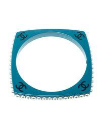 Chanel - Blue Cc Resin Faux Pearl Square Bangle Bracelet - Lyst