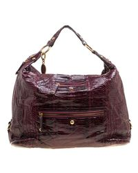 Tod's Purple Burgundy Snakeskin Embossed Leather Pashmy Hobo