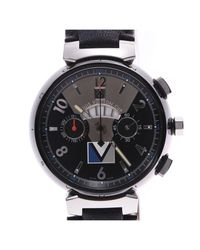 Louis Vuitton Black Stainless Steel And Leather Tambour Chrono Q102g Men