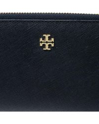 Tory Burch Navy Blue Leather Robinson Continental Wallet