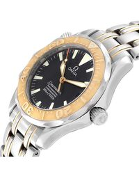 Omega Black 18k Yellow Gold And Stainless Steel Seamaster 2453.50.00 Men's Wristwatch 36 Mm for men