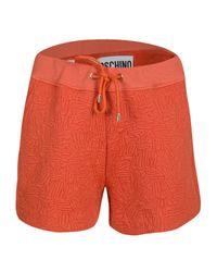 Moschino Couture Orange Logo Embossed Jacquard Knit Shorts M