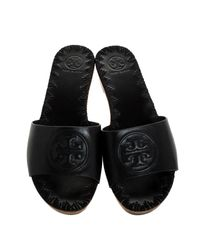 Tory Burch Black Leather Patty Wedge Flat Slides Size 38.5