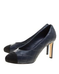 Chanel - Blue Quilted Leather Cc Cap Toe Pumps - Lyst