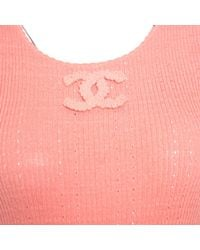 Chanel Pink Peach Perforated Rib Knit Logo Applique Detail Sleeveless Tank Top M