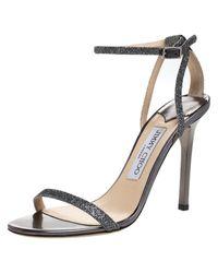 Jimmy Choo Metallic Grey Lamè Fabric Minny Ankle Strap Open Toe Sandals