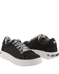 Moschino Love Black Fabric Platform Sneakers Size 41