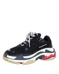 Balenciaga Black Mesh And Leather Triple S Platform Sneakers for men