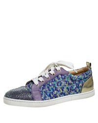 Christian Louboutin Purple Lurex And Suede Gandolastrass Low Top Sneakers