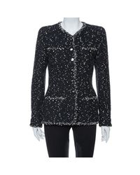 Chanel Black Vintage Monochrome Speckled Tweed Jacket