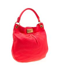 Marc By Marc Jacobs Neon Orange/pink Leather Classic Q Hillier Hobo